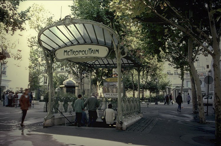 Three stations today still boast Guimard's fan-shaped glass awnings, called édicules, as shown here at the Abbesses station in Montmartre. Photo courtesy of