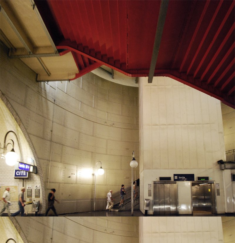 With green lighting and red staircases, the Cite metro (which serves Île de la Cité, the island on the Seine where Notre Dame sits) is one of the deepest and most awe-inspiring stations, designed with the concept of a giant riveted tank.  Photo courtesy of Tiffany Chu