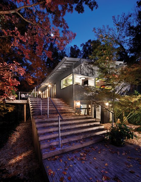 The Wheeler house, designed by Cherry Huffman Architects is a positive demonstration of an ongoing client-architect relationship and rests downhill from the street on a secluded, wooded site.