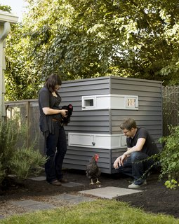 The Dos and Don'ts of Building Your Own Chicken Coop - Photo 1 of 4 - Switching coasts from Brooklyn to Portland gave architects Mitchell Snyder and Shelley Martin a new set of unexpected clients: three young hens. Their move brought about an entirely different lifestyle--one that involved a house, a yard, and for Snyder, the chance to launch his own firm, Mitchell Snyder Architecture, after first acquainting himself to Portland, Oregon, as a designer at Scott Edwards Architecture. His first project on his own: a chicken coop for the couple's new feathery friends.