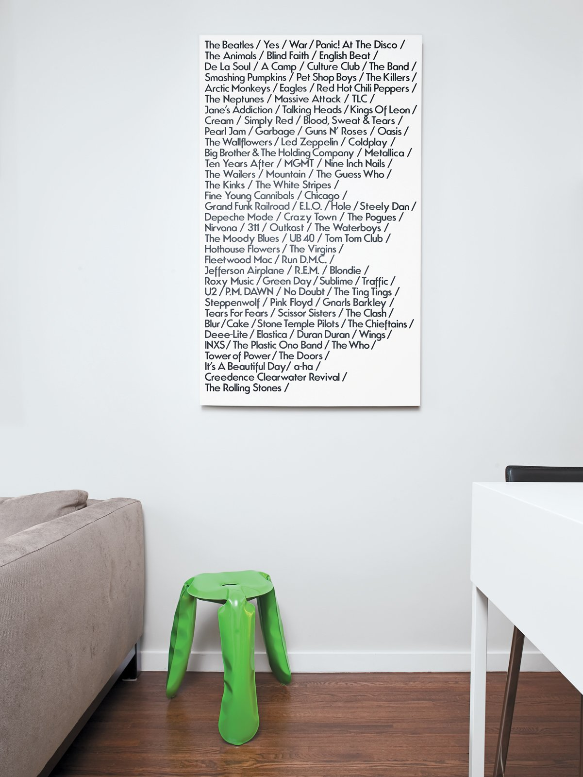 "Pozner fills down time with creative projects, such as the ""List Art"" canvas featuring his favorite bands. Tagged: Living Room, Medium Hardwood Floor, and Stools.  Photo 1 of 12 in The Manhattan Transformation"