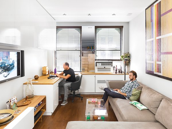 Architect Darrick Borowski, designed the nearly wall-size custom cabinetry.