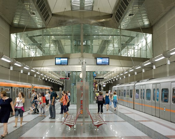 Another gleaming gem of contemporary design is the city's subway system. The station at Agios Dimitrios is the terminal for the Red Line.