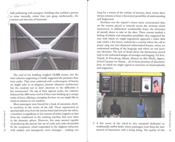 A Week at the Airport: Part I - Photo 3 of 4 - This spread from the book shows two points of interest to travelers: the stunning supports Richard Rogers designed to keep Terminal 5 up, and a list of gates for passengers. Photos by Richard Baker.