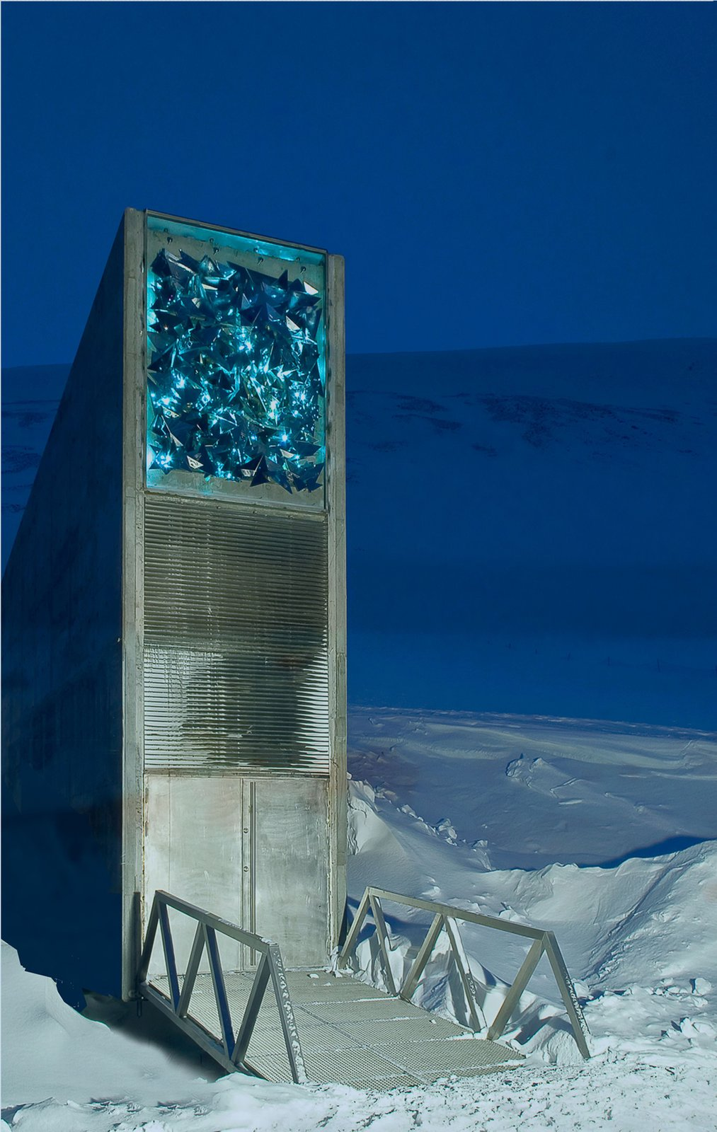 Svalbard Global Seed Vault, Svalbard, Norway, 2007. Designed by BC Arkitektur Barlindhaug Consult A.S. of Norway and Project Architect Peter Wilhelm Söderman of Finland. Photo by Jaro Hollan.  Cabins & Hideouts by Stephen Blake from Snøhetta Curates Nordic Design