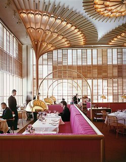 "The Opulent Modernism of Platner - Photo 2 of 13 - Warren Platner designed the American Restaurant in Kansas City in 1974 as part of a complex of modern buildings commissioned by the Hall family of Hallmark Cards. He described the bentwood, brass and lipstick-red interior as ""like a huge lace Valentine."""