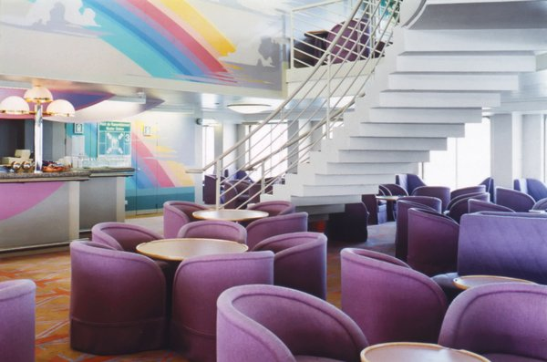 One of Platner's last projects was a pair of English cross-channel ferries, the Fantasia and the Fiesta, for which he designed yellow Union Jack carpeting and lavender chairs.