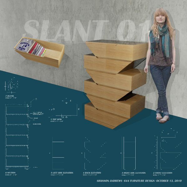 Slant01, a custom chest-of-drawers, by New York School of Interior Design student Shannon Andrews.
