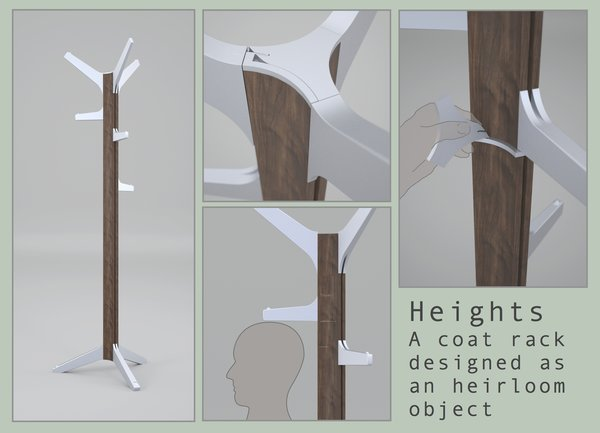 Heights, a coat rack used to record the heights of a growing family, is by Jordan Morrell, a student in the Masters of Design in Designed Objects at the School of the Art Institure of Chicago.
