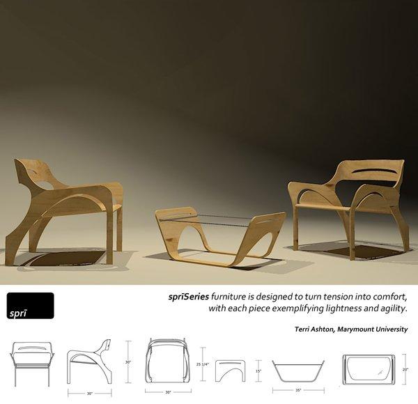 The SpriSeries of plywood furnishings, by Marymount University interior design student Terri Ashton.