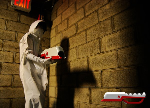 Pratt student Jung Soo Park's gun-shaped fire extinguisher and flame-retardant suit.