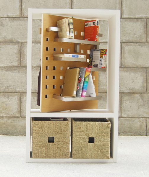 Sherry An, a student at Pratt, designed a rotating bookshelf meant to facilitate sharing between neighbors