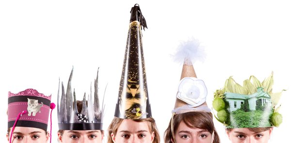 "Alleged Party Hats by Heather Grace/Alleged<br><br>($200.00 for a set of 5)<br><br>text ""AllegedPartyHats"" to 767825 (portal) <br><br>""I (Will) recently had a small dinner party with 5 people in my tiny Brooklyn apartment.  After we ate, the single malt mysteriously filled up in our wine glasses and these amazing party hats sprouted on our heads.  What was supposed to be a quiet dinner with friends turned into a rager of a party, and it was all due to these amazing hand crafted hats.  Each set of 5 is different.  You never know what you'll be getting when you order these from Heather.  They take about 4 weeks to be crafted and sent out.  Worth the wait and the party!"" photo by Jacob Krupnick"