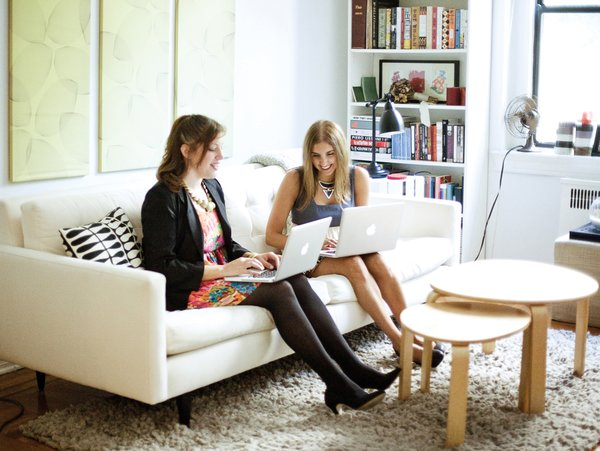 When they aren't traveling the world seeking out design to share with their growing readership (and already loyal followers), Jill Singer and Monica Khemsurov are busy writing and editing stories from the comfort of home. Here, they search the web and have a laugh in Singer's apartment.