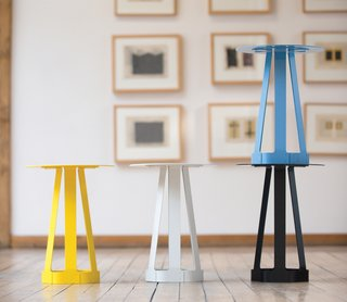 The steel Sixagon can be used as a stool, side table, or any other surface. It's got a powder-coated surface, available in black, blue, cream and yellow.