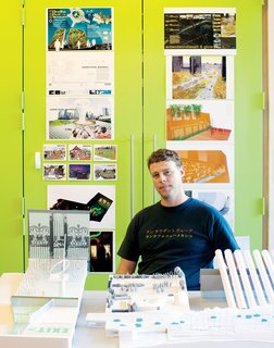 Landscape Architect Marcel Wilson - Photo 1 of 6 - Marcel Wilson in his studio, surrounded by examples of his recent work.