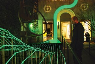 Landscape Architecture: Marcel Wilson - Photo 1 of 6 - To lure visitors into an exhibition at San Francisco's Museum of Craft and Design, Wilson strung up solar-powered phosphorus-coated wires, creating a glowing path to the museum's front door.