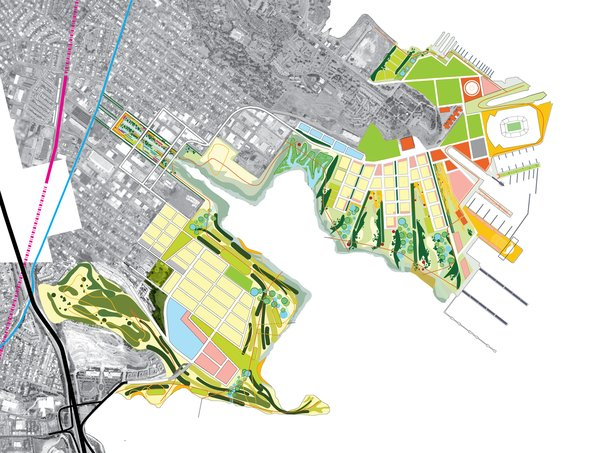 For the 700-acre development site at Candlestick Point and Hunters Point Shipyard in San Francisco, he designed a master plan that seeks to re-create some of the city's lost habitat types, while at the same time improving environmental health, spurring economic development, and creating new open space and habitat.