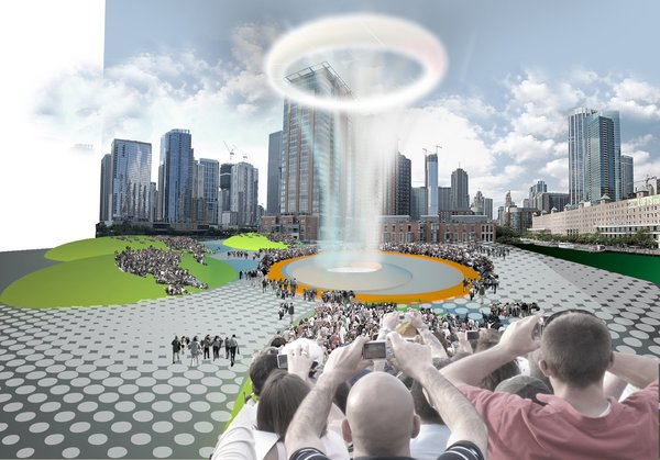 "Here's Wilson's honorable mention-winning proposal for Chicago's Spire Site, which he envisioned as an ""urban Old Faithful"" or ""unnatural wonder,"" lofting rings of steam into the air every fifteen minutes."