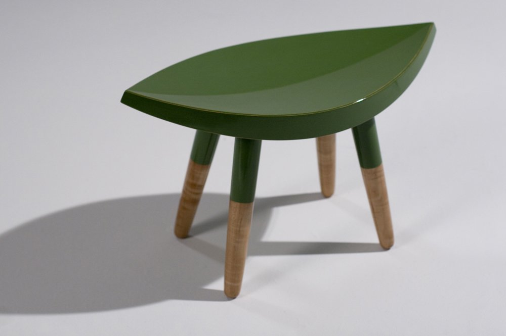 This little stool was made for milking, with maple legs and leafy seat.  Photo 5 of 6 in Industrial Design: Atelier Takagi