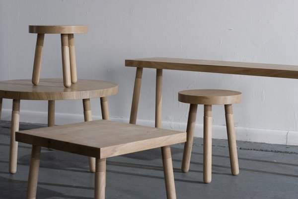 Simple utilitarianism at its finest: Takagi's Simple Machines series of stools, benches, and tables in white oak.
