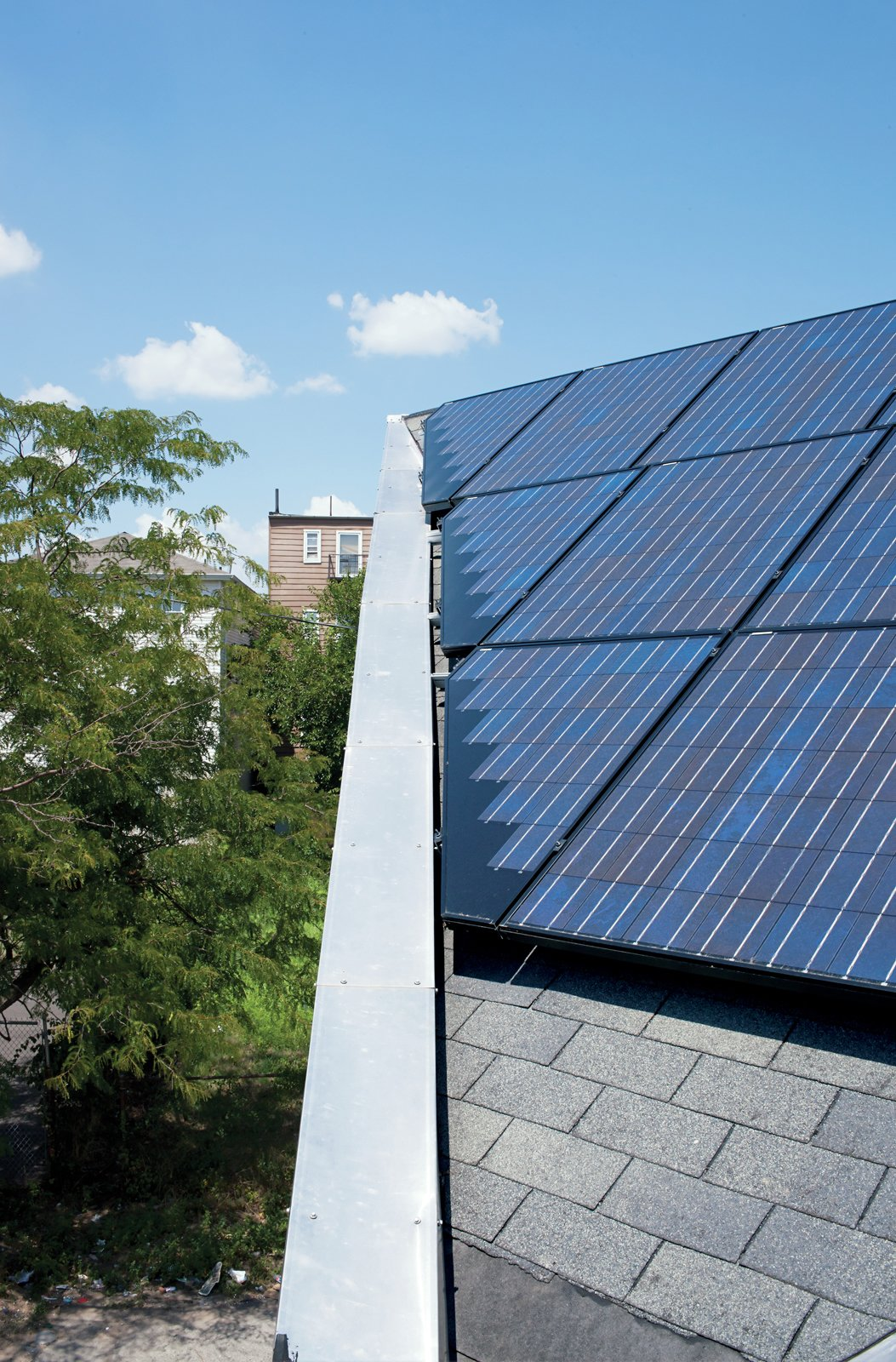 A 260-square-foot solar array was installed atop a triangular section of the roof, which faces due south and is angled at 30 degrees for optimal solar collection.