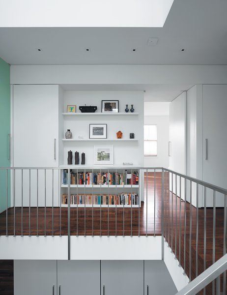 To add to the feeling of spaciousness, bookcases are set back on the upstairs landing.