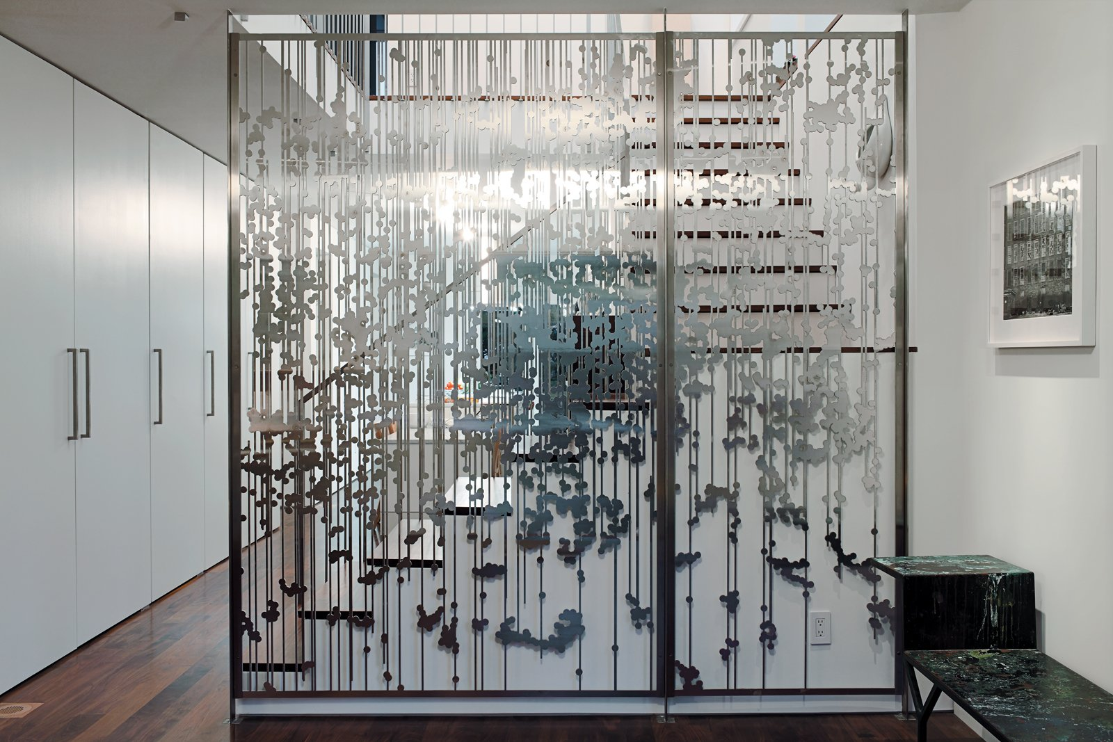 Another view Magnes's aluminum screen divider.  190+ Best Modern Staircase Ideas by Dwell from An 1850 schoolhouse in Milford, Pennsylvania