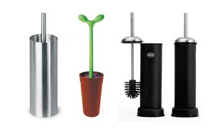 Left to right: Duo by Stotz Design for Blomus, the Merdolino toilet brush by Stefano Giovannoni for Alessi, and the Vipp 11 Toilet Brush by Vipp