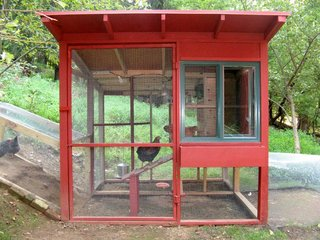 The Dos and Don'ts of Building Your Own Chicken Coop - Photo 2 of 4 - This cool coop is by David Rosen, an Associate Producer at CBS News in New York. His goal, in addition to sheltering four egg-laying hens, was to design a structure that complemented his house, a modern barn in Rockland County. The main house uses new and salvaged lumberyard materials, including an inexpensive sliding window from Lowe's. There's a planting box under the window. The sleeping area is completely insulated with rigid foam sheathing. For cold nights there is a heat lamp.