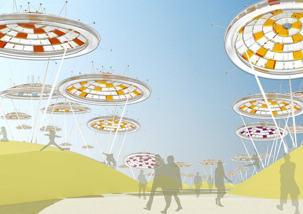 "Just as if they were living, breathing structures, the ""Desert Blooms"" in this proposal are flora-inspired, gas-filled balloons (acting as solar concentrator devices) that follow the path of the sun during the day and lay down to rest at night; Visitors would see different alignments of the colorful floating structures depending on the time of day and season. With a total of 51 balloons covering the Desert Blooms site, the design would generate enough energy to power roughly 15,000 homes.<br><br>Design by: Jude D'Souza, Suprio Bhattacharjee, Vittal Sridharan, and Kush Patel (ETT Architects)"