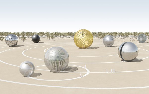 "A number of designs paid especially close attention to the ecological as well as cultural context of the United Arab Emirates-based installations. ""Solar ECO System,"" for example, represents the exact planetary alignment of the solar system on December 2, 1971, the day that the UAE was founded. A different combination of photovoltaic panels would be used to construct each individual planet, which could also be used as pavilions for hosting public activities and events.<br><br>Design by: Antonio Maccà and Flavio Masi"