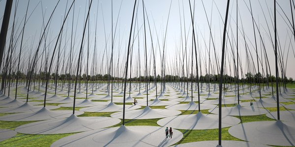 """Windstalk,"" which won a second place mention from the jury, is a field of jumbo-sized, reed-like poles that collects kinetic energy from the blowing wind. Whether imagining huge hair follicles or towering blades of grass, the atmosphere will likely make visitors feel like they're in a scene from ""Honey I Shrunk the Kids.""<br><br>Design by: Dario Núñez Ameni and Thomas Siegl, with Atelier dna"