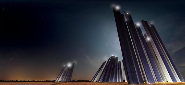 "Based on the fractal form known as the Koch Snowflake, these looming structures, or ""Solar Fractals,"" represent the harmony that exists between art and mathematics. Photovaltic panels collect solar energy during the day, while the pylons illuminate the nearby coastline by night.<br><br>Design by: Tanzim Hasan Salim"