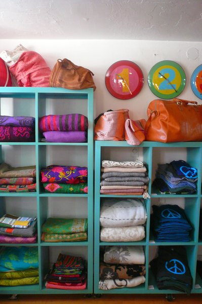 I loved the colorful display of blankets, wraps, and textiles from around the world.