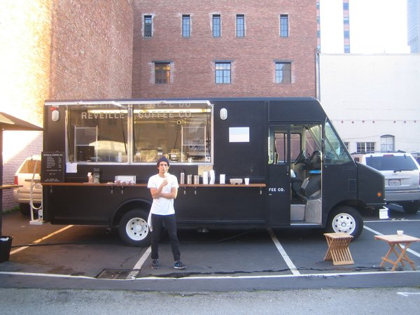The Réveille Coffee Company's truck parked on Pacific Street in San Francisco.