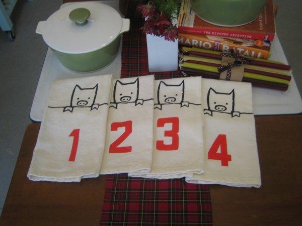 These playful piggy tea towels are by San Francisco based designer Katherine J. Lee.