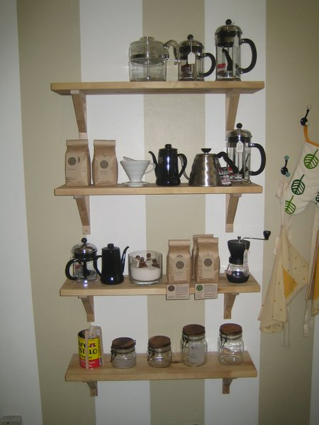 These four shelves have Wageman's range of coffee wares, including beans by local roaster Sight Glass. Dwell creative director Kyle Blue did Sight Glass' logo and identity.