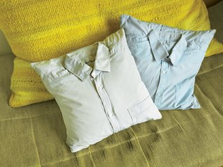 The Dad Pillows are the ideal stuffed shirts: throw pillows that have left the torso in favor of the sofa.