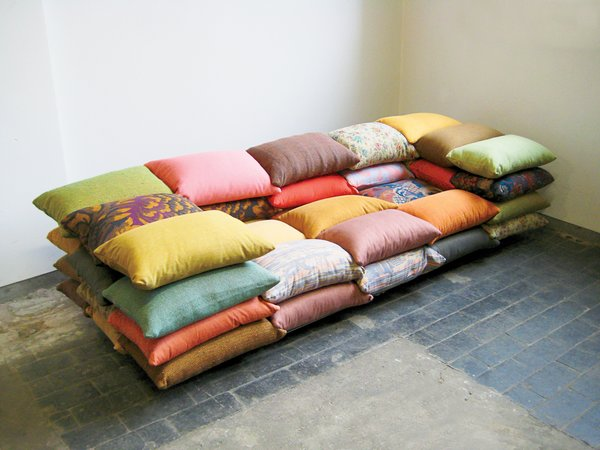 The cushioned sofa was originally a project in which Högner made a sofa from sandbags. This iteration takes the sofa's smallest component--the pillow--and builds up.