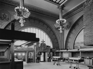 Interior of the National Farmers' Bank, Owatonna, Minnesota, built 1907-1908. Photo courtesy of The Richard Nickel Committee and Archive.