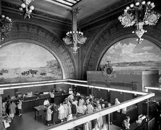 Banking room of the National Farmers' Bank, Owatonna, Minnesota, built 1907-1908. Photo courtesy of The Richard Nickel Committee and Archive.