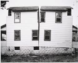 Gordon Matta-Clark is known for slicing structures, such as this bifurcated house.