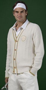 Roger Federer wore this handsome cardigan at Wimbledon 2008, where he took second place.