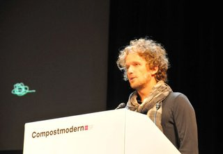 Yves Behar delivers the first lecture at the 2011 Compostmodern conference.
