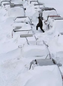 The aftermath of winter storms on the east coast. Photo by the Associated Press.