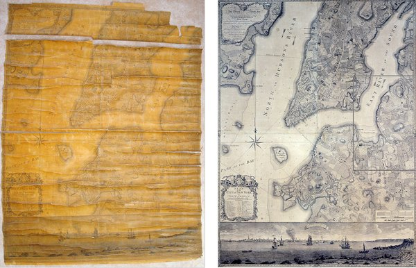 """The restoration of the """"Plan of the City of New York"""" map from 1770 as shown on the New York Times' website."""