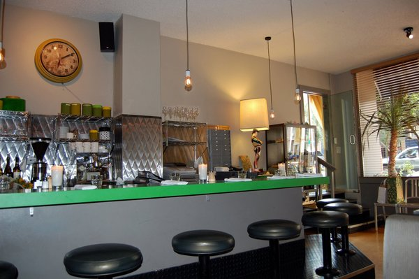 Here's view of the bright green countertop at Canteen.