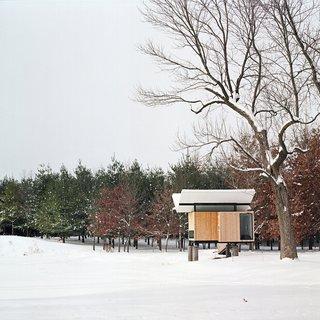 "101 Best Modern Cabins - Photo 88 of 101 - In the winter, instead of floating over the pond, the hut sits lightly above the snow. ""It's protected and serene but alive with subtle energy,"" Poss says. Photo by Phillip Kalantzis-Cope.Don't miss a word of Dwell! Download our  FREE app from iTunes, friend us on Facebook, or follow us on Twitter!"