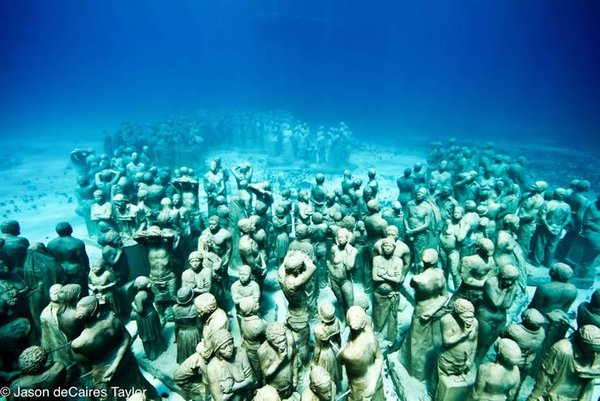 The Museum of Underwater Modern Art in Mexico is comprised of lifesize cement sculptures, all created by Jason deCaires Taylor